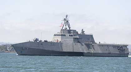 SAN DIEGO (April 19, 2019) The Independence-variant littoral combat ship USS Charleston (LCS 18) sails through San Diego Bay in transit to the ship's Naval Base San Diego homeport, successfully completing the ship's maiden voyage from the Austal USA shipyard in Mobile, Alabama. Charleston is the ninth ship in the littoral combat ship Independence-variant class and is the eleventh LCS to be homeported in San Diego. U.S. Navy photo by MC1 Woody S. Paschall